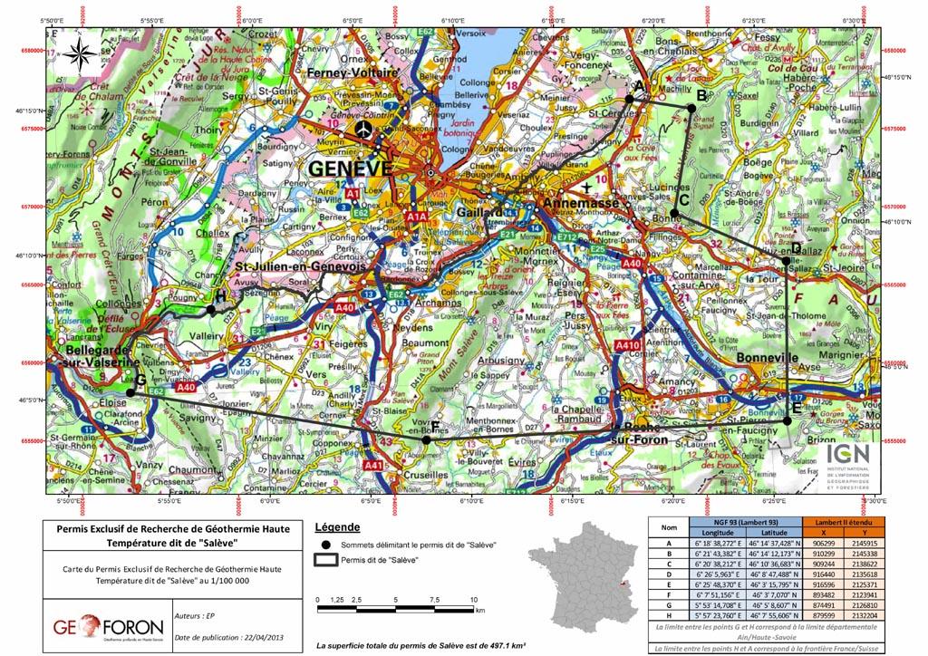 """Carte """"permis du Salève"""" (géothermie profonde)"""